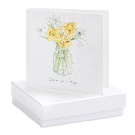 Daffodil Earrings Mothers Day Card