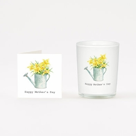 Scented candle and card Mothers day daffodils